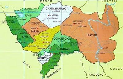 Dibujo Mapa del Departamento de Junín (División Política de Junín)