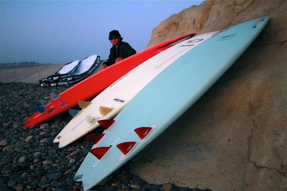 Reid Inouye of Standup Paddle Magazine with his Probox Finsystem Surf  SUP Quiver