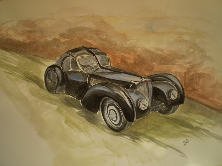 Bugatti T57SC Atlantic , watercolor, signed Joli, A4