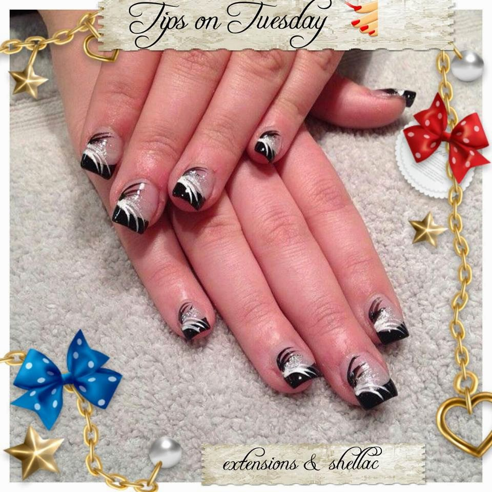 Acrylic/gel extensions black french and nail art | Needy Nails Taupo ...