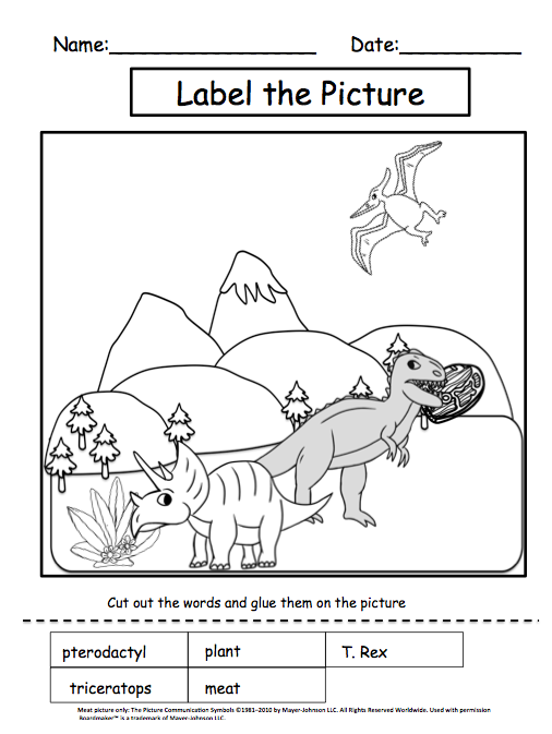 Autism Tank November Science Dinosaurs – Fossils Worksheet