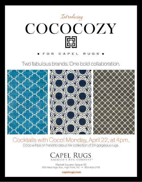 COCOCOZY Capel Rugs advertisement public appearance home furniture market High Point NC North Carolina furnishings rugs floor covering carpet
