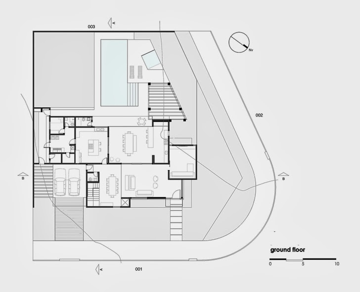 Ground floor plan of Modern Atenas 038 House by Dayala + Rafael Arquitetura