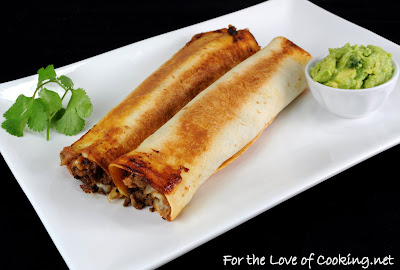Beef, Bean, and Pepper Jack Baked Flautas