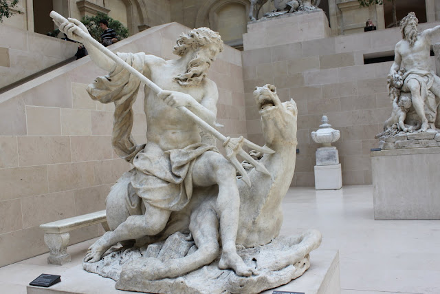 Killing sea animal sculpture at Lourve Museum in Paris, France