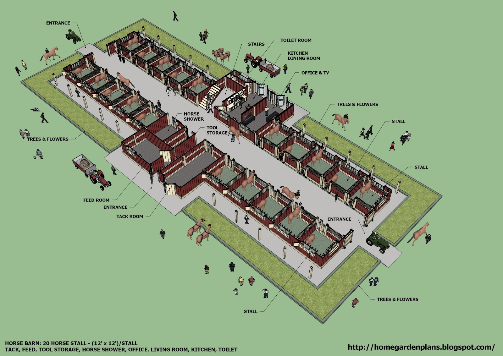 Home garden plans b20h large horse barn for 20 horse for Equestrian barn plans
