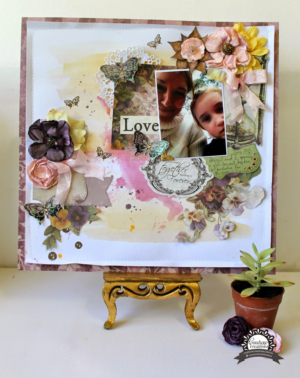 """Love"" layout by Bernii Miller for Couture Creations using the Hearts Ease collection."