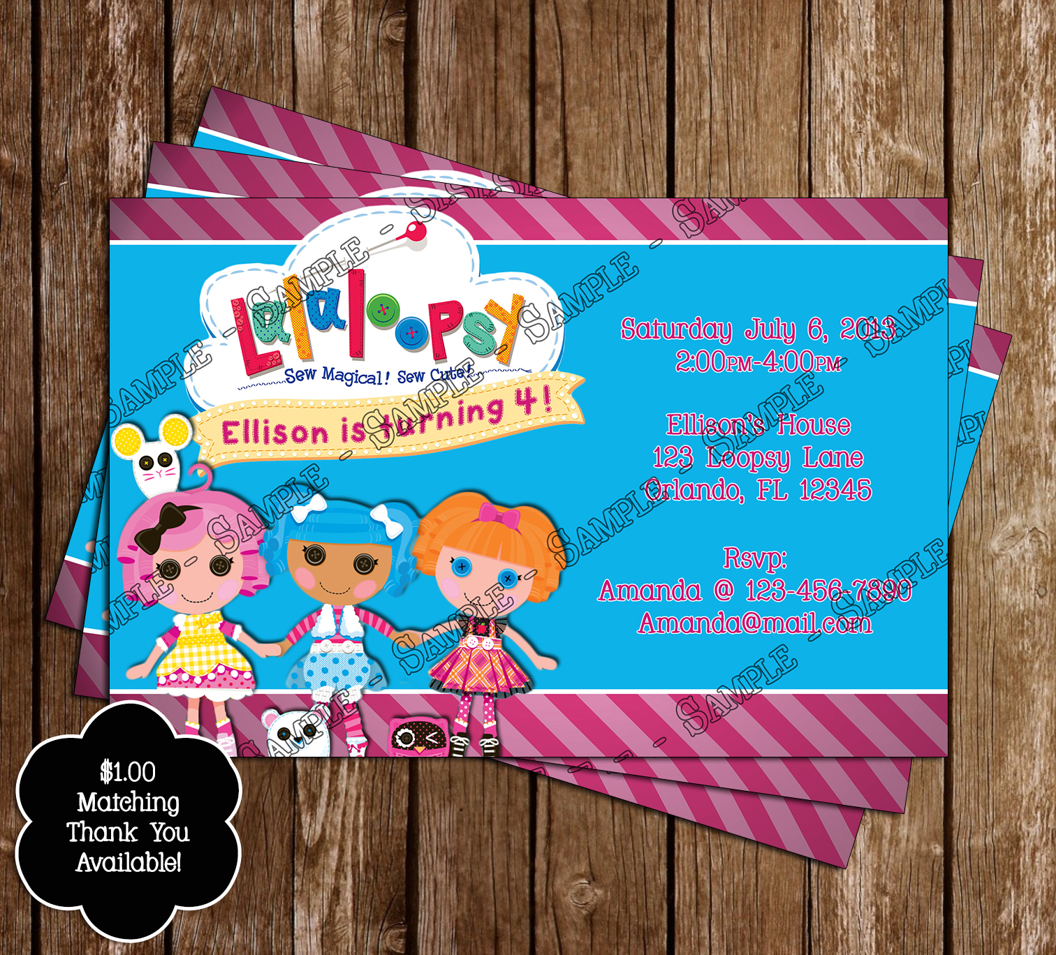 Novel concept designs lalaloopsy birthday invitation and thank you lalaloopsy birthday invitation and thank you card july 07 2013 filmwisefo