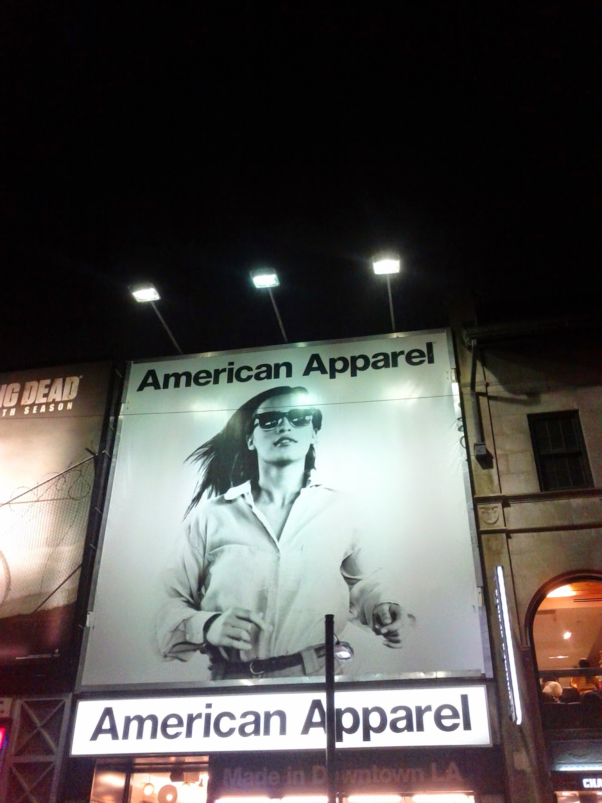American Apparel billboard model lights