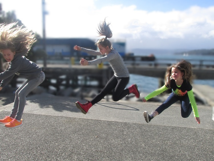 Girls cheerleading on wellington waterfront