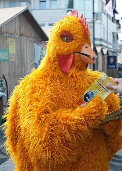 Image of a person dressed in a full-body chicken suit. It's made of shaggy yellow material with a red foam comb and jowls. The person holds a brochure and stands on a residential street with what appear to be storage sheds and a white apartment building in the background.