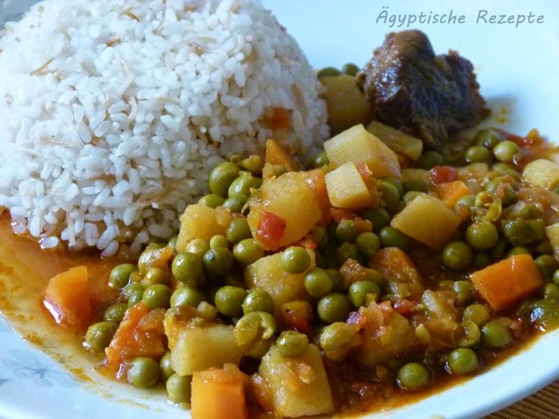 Ägyptische Rezepte Kochen Erbsen Möhren Fleisch Gemüse