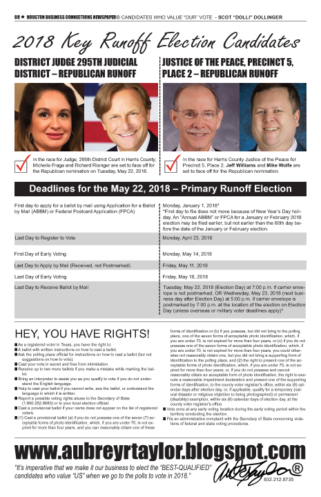 PAGE 8 - HOUSTON BUSINESS CONNECTIONS NEWSPAPER© RUNOFF ELECTION - PART 1 of 3