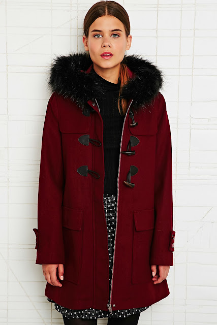 fur trim duffle coat