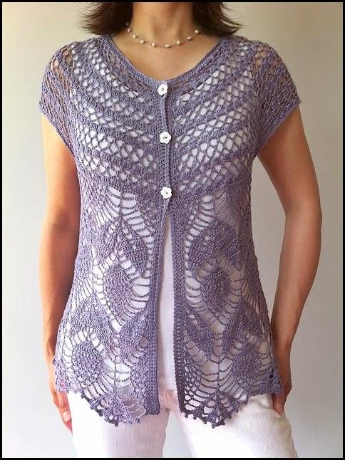 Chalecos largos tejidos a crochet con patrones gratis - Imagui