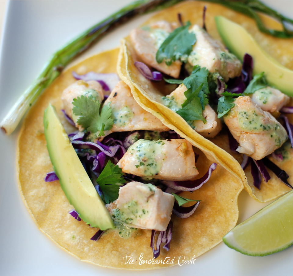 the enchanted cook fish tacos with lime cilantro dressing