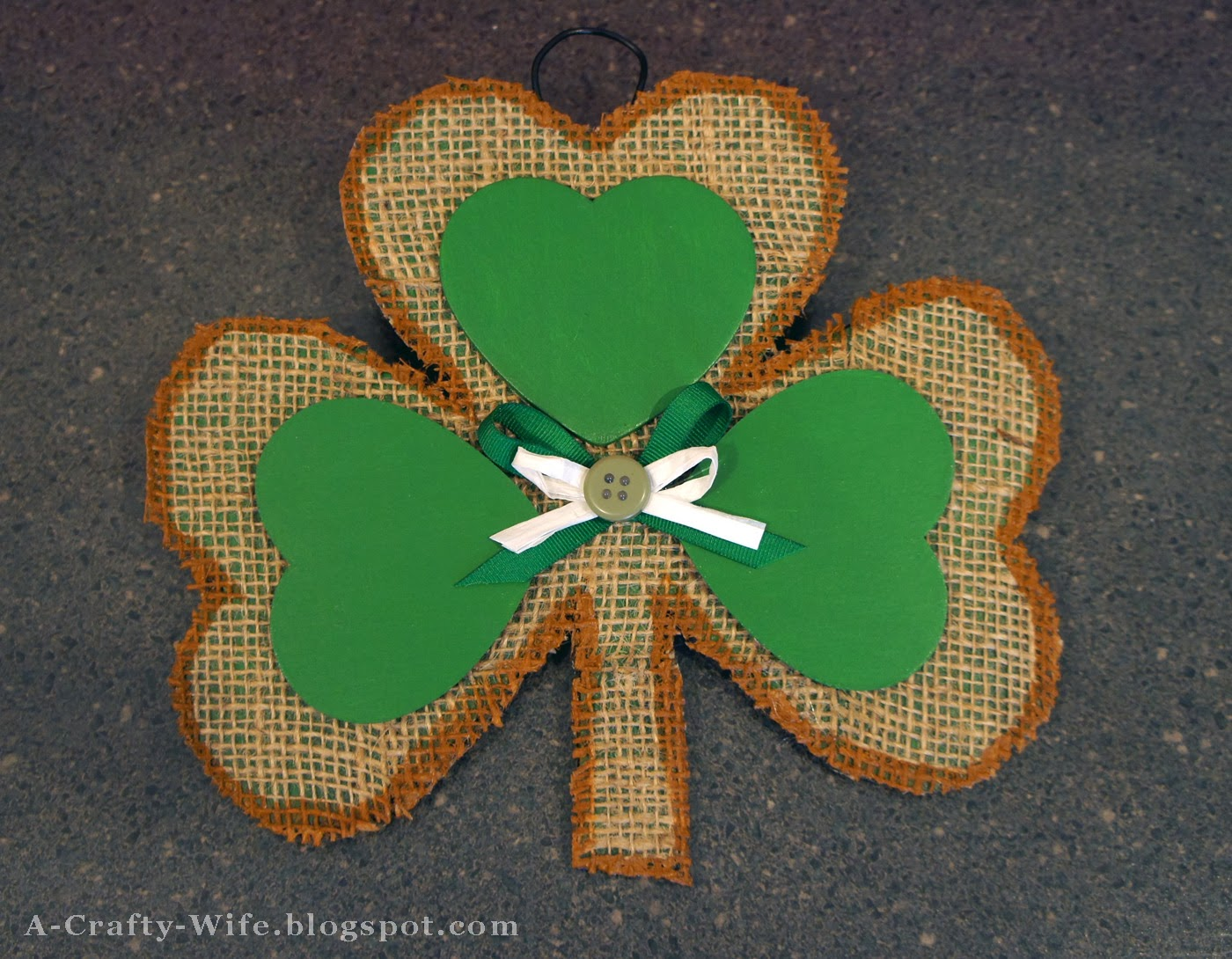 Cardboard and burlap shamrock for St. Patrick's Day | A Crafty Wife