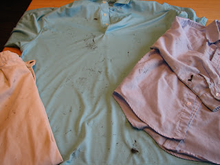 pictures of clothes with crayons from the dryer