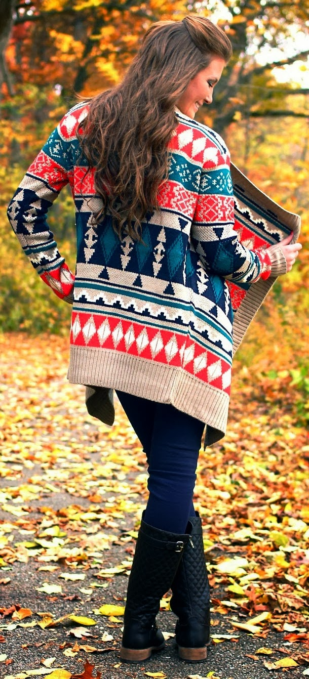 Colorful cardigan and long neck boots for fall
