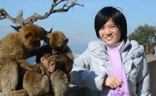la championne du monde d'échecs Hou Yifan posant avec les fameux singes de Gibraltar