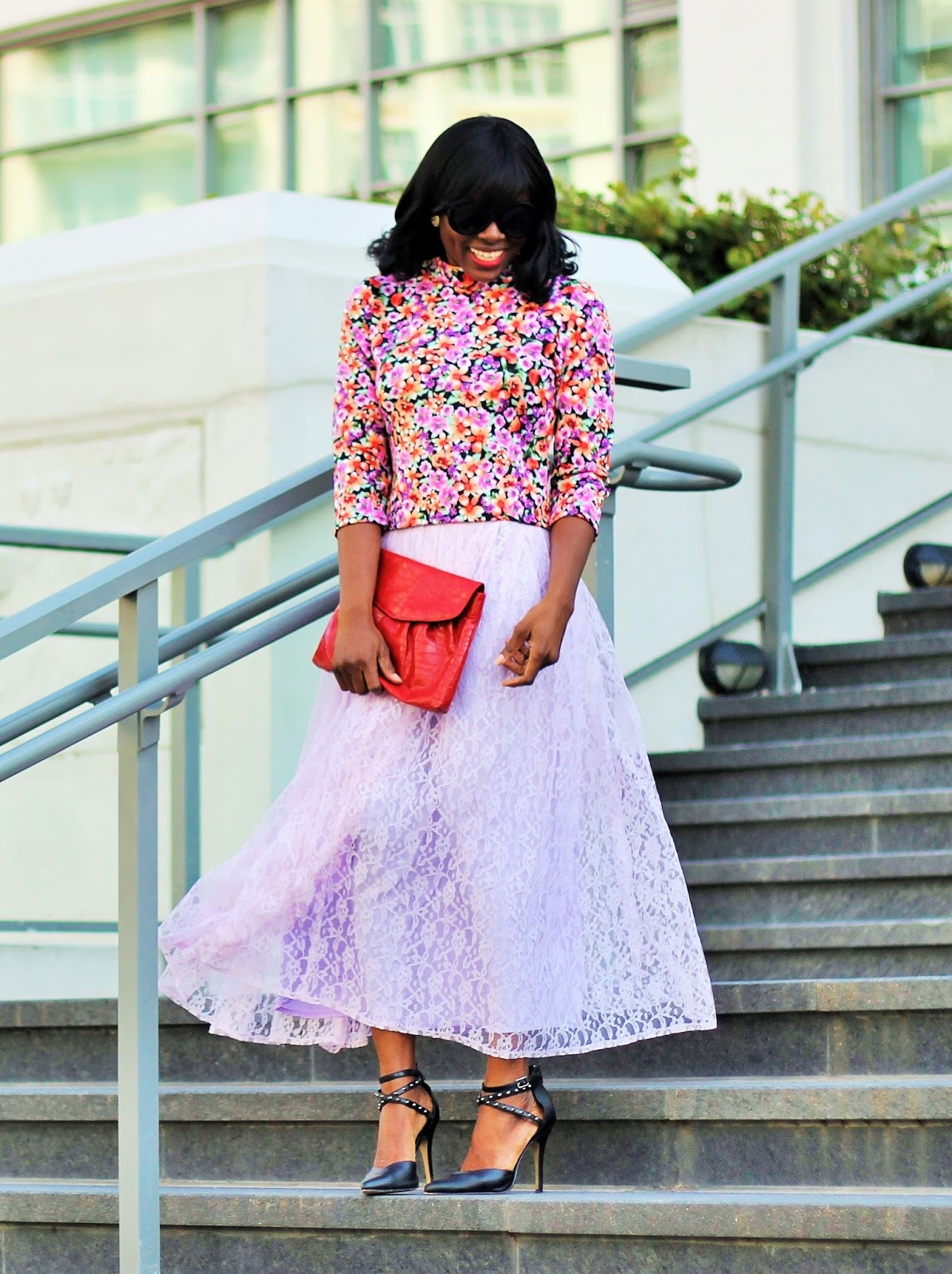 TORONTO FASHION WEEK ROOKIE STYLE: Lace midi skirt and  flroral print top