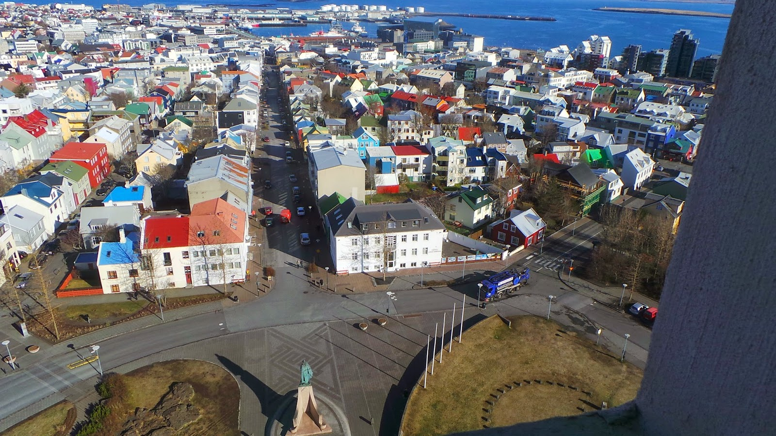 looking down on reykjavik