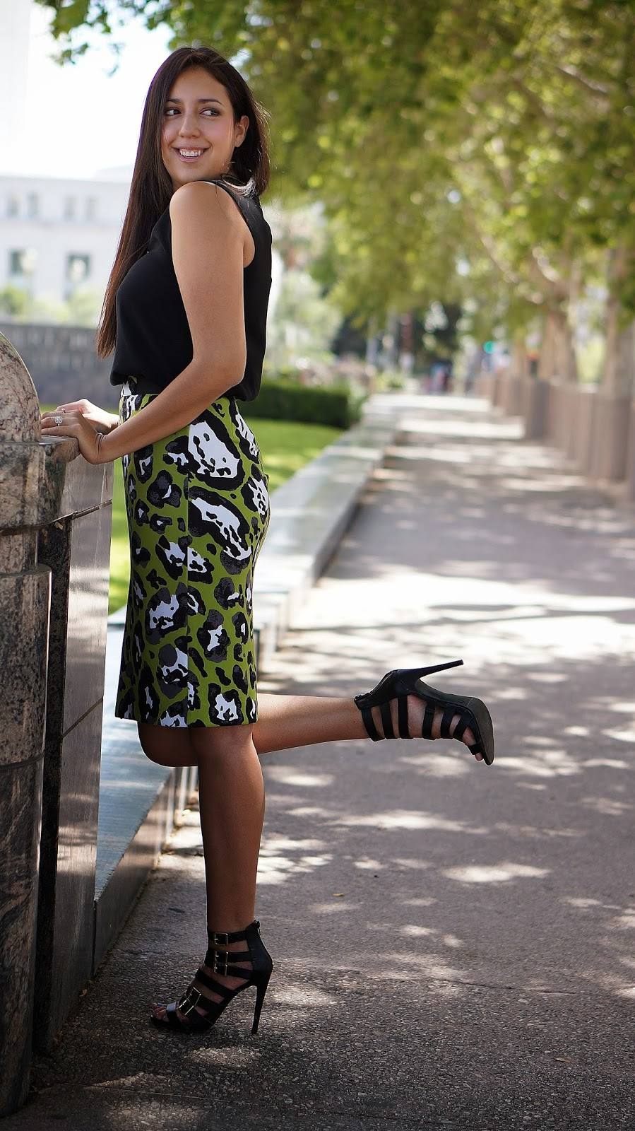 JCPenney Green Cheetah Pencil Skirt, Fashion Blogger, Animal Print Fashion