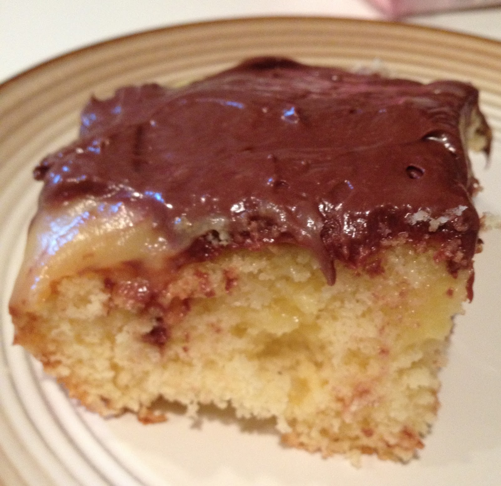 Poke Cake Boston Cream Pie