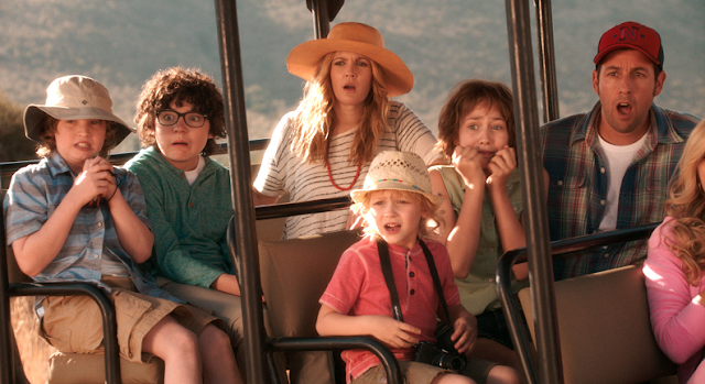 Blended 2014 movie still - Adam Sandler and Drew Barrymore Africa family picture