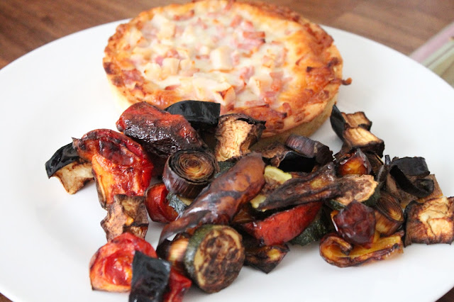 Chicago Town chicken club deep dish with roasted vegetables