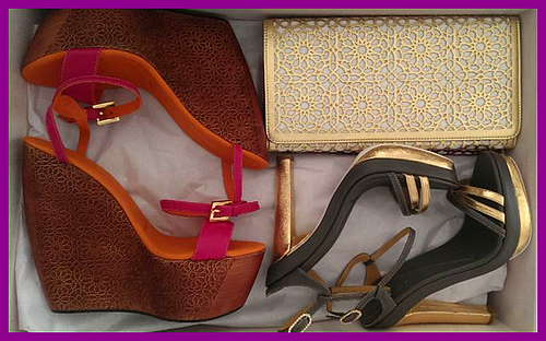 Lalla Alia Shoes and Handbag (Gold Clutch)