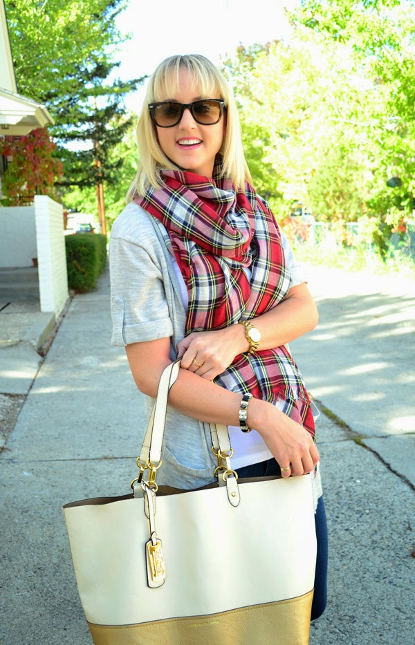 plaid scarf, ray-ban sunglasses, fashion blog