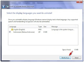 Cara Uninstall Windows 7 Language Interface Pack Bahasa Indonesia