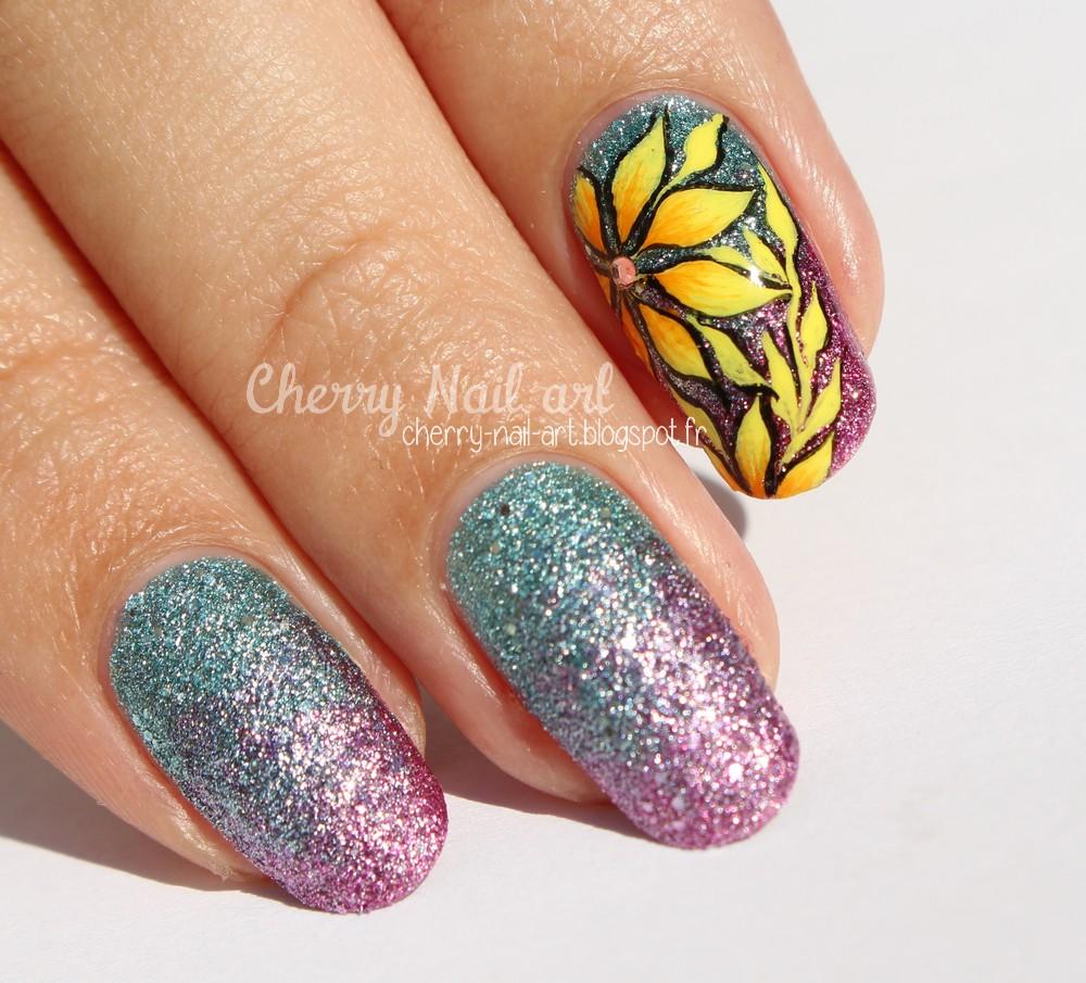 nail art fleurs tropicales dégradé