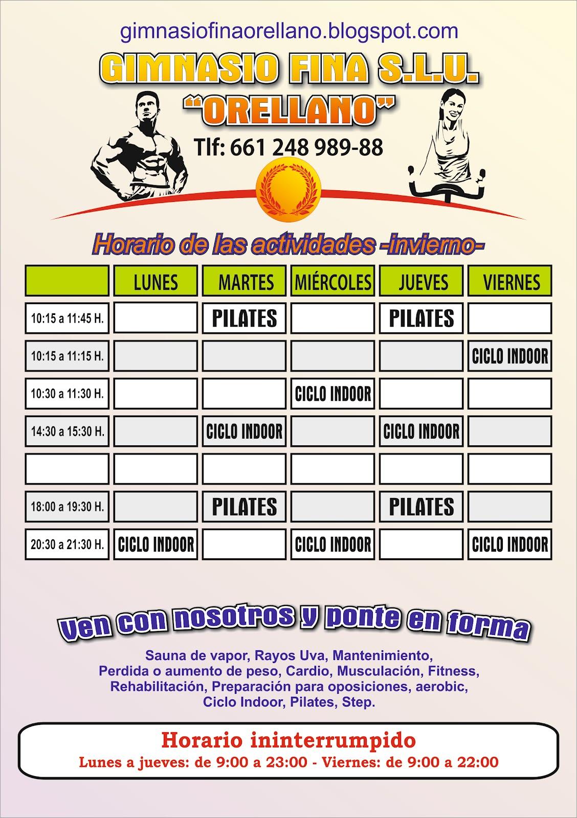 Gimnasio fina s l u orellano horarios for Horario gimnasio