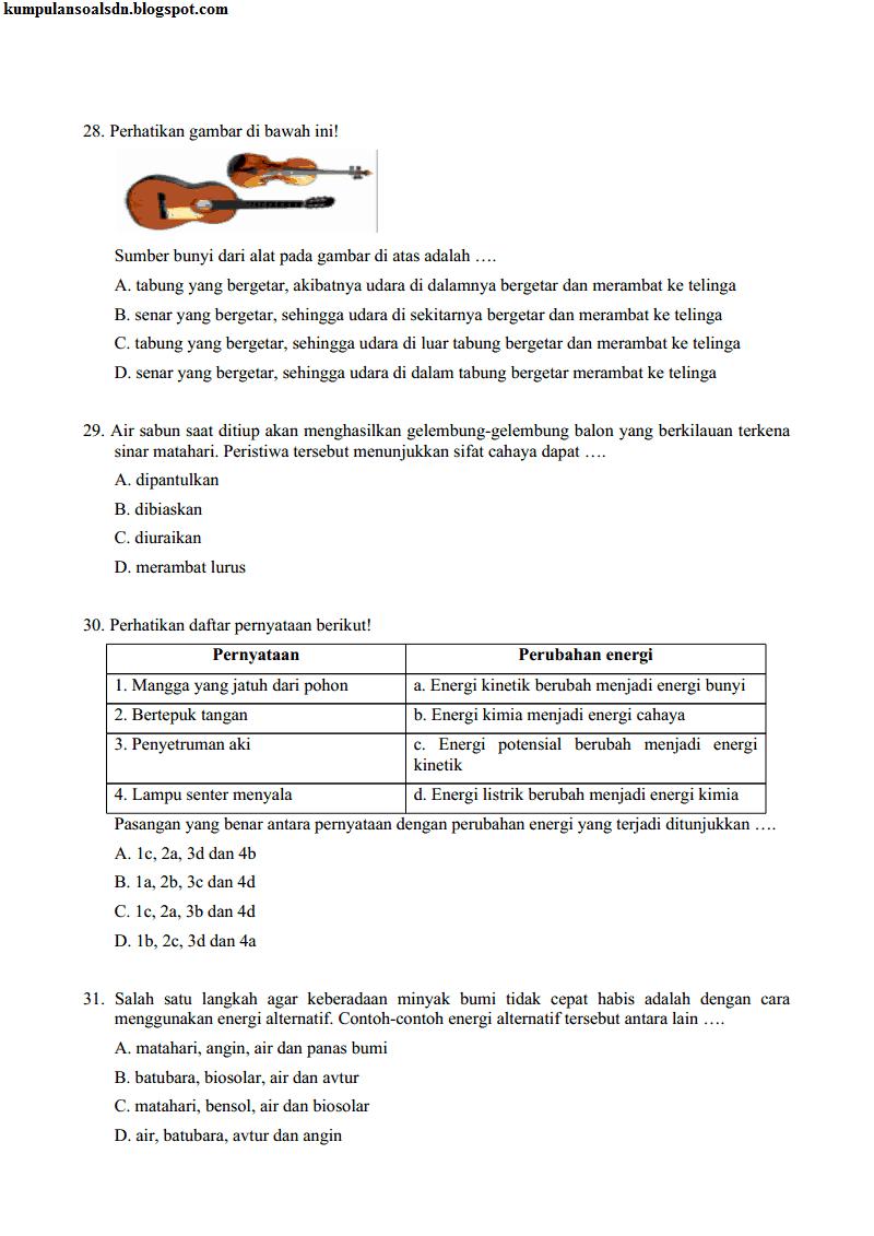 Prediksi Kunci Us Ipa Sd Kelas 6 Sd P1 Uas Ii 2013 2014 Kumpulan Soal Sd
