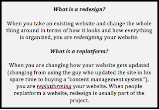What is a redesign and what what is a replatform?