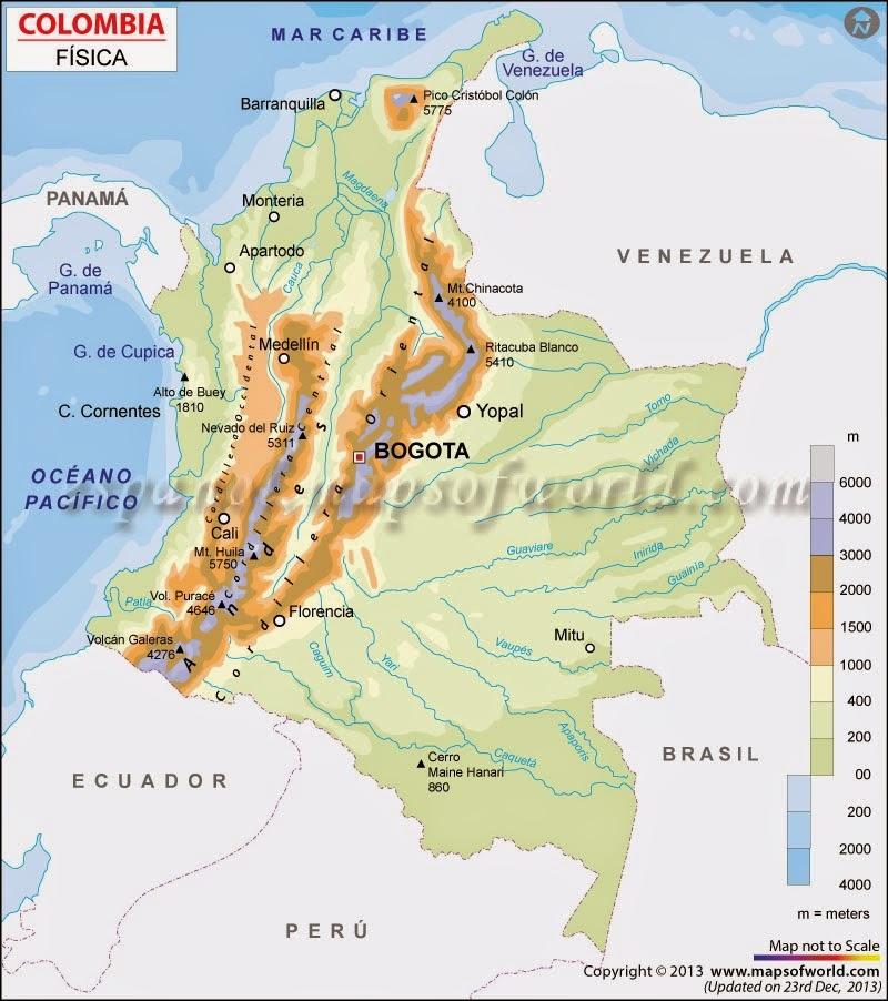 MAPA FISICO DE COLOMBIA  BUENAS TAREAS ESCOLARES