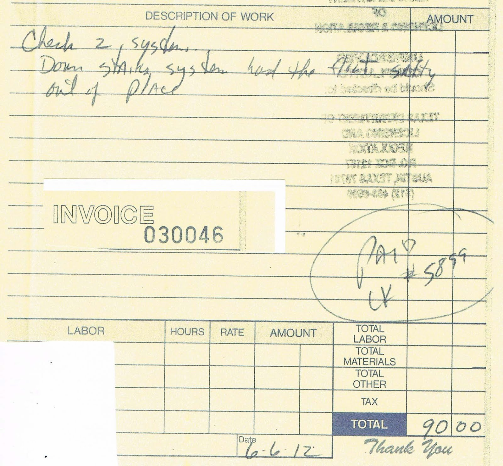 roof repair receipt