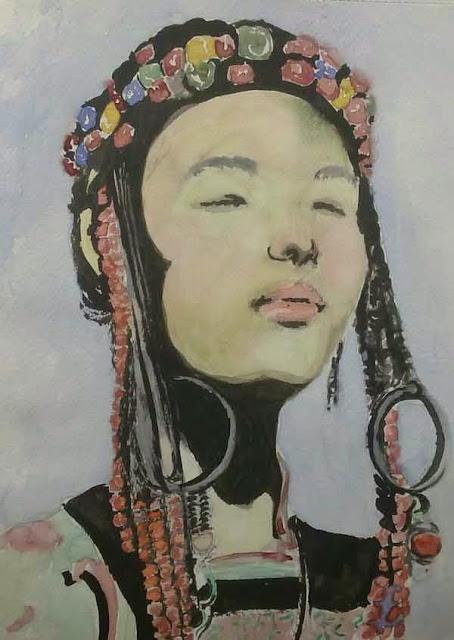 retrato etnico con tinta y acuarela