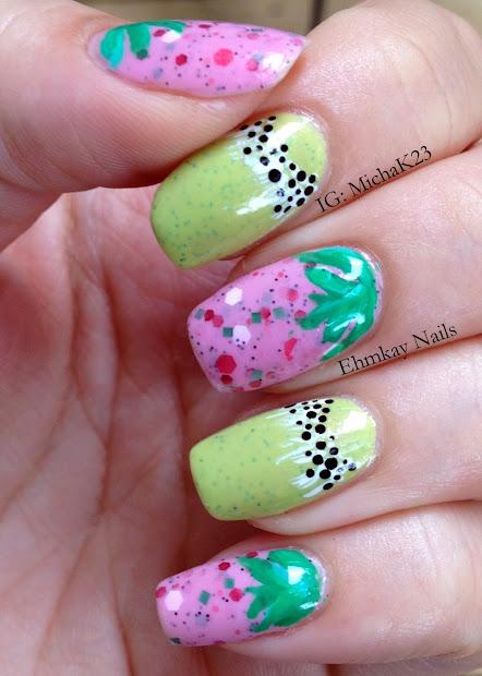 ehmkay nails strawberry kiwi nail