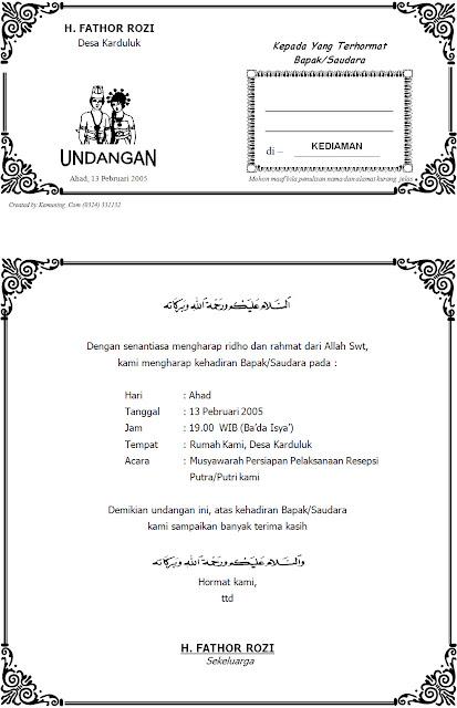 ... Contoh Surat Undangan Musyawarah Pernikahan - Download Contoh Desain