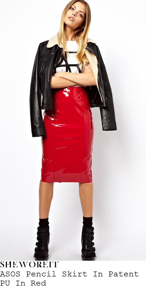 lauren-pope-red-pvc-pu-high-waisted-pencil-skirt