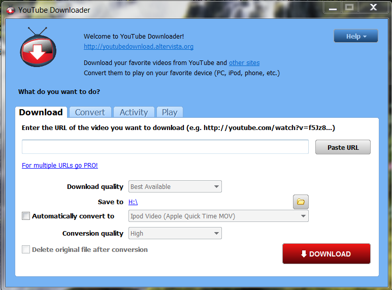Of supported video portals YouTube Downloader is not lacking, so you