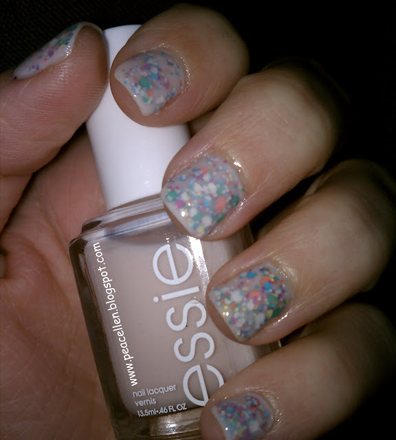 Essie Adore-a-ball, Nicole by OPI Rainbow in the S-Kylie, glitter sandwhich