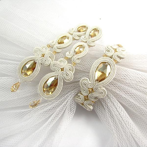 Sutaszowy komplet ślubny ivory i złoto