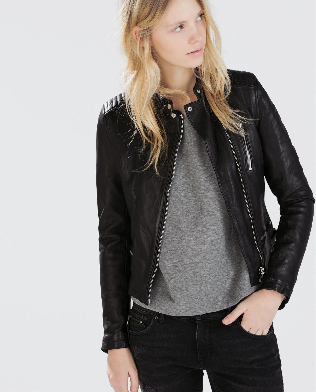 zara leather jacket, zara zipped leather,