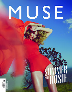 Rosie Huntington Whiteley hot in red bodysuit on the cover of Muse magazine summer 2013 issue