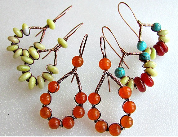 a lovely wire wrapped and coiled wire earrings tutorial
