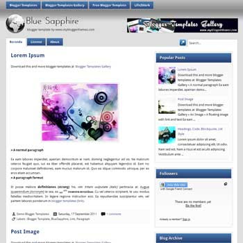 BlueSapphire blogger template. template blogspot blue color for blogger. blogger template 4 column footer